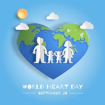 Concepto del día mundial del corazón, familia tomados de la mano.