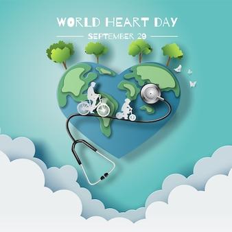 Concepto del día mundial del corazón papá e hijo disfrutan de andar en bicicleta en la ilustración de papel de ciudad verde y papel 3d