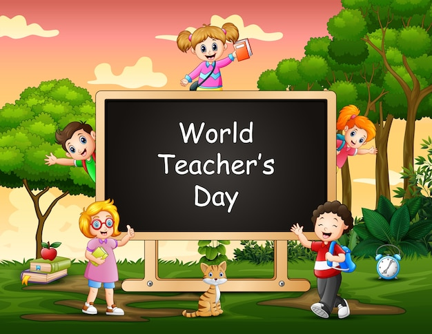 Concepto del día mundial de los docentes con estudiante en el cartel