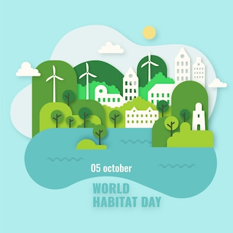 Concepto del día mundial del hábitat en estilo papel