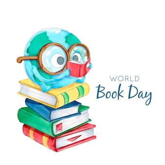 Concepto de día mundial del libro de acuarela