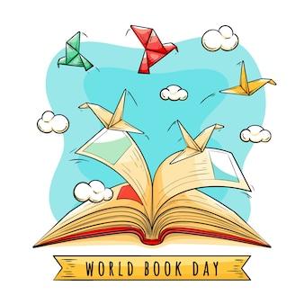 Concepto de día mundial del libro dibujado a mano