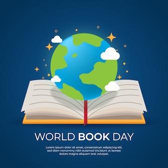 Concepto de día mundial del libro de diseño plano
