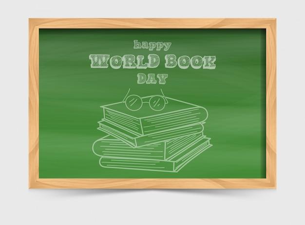 Concepto del día mundial del libro con pizarra y pila de libros