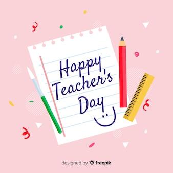 Concepto del día mundial del maestro dibujado a mano