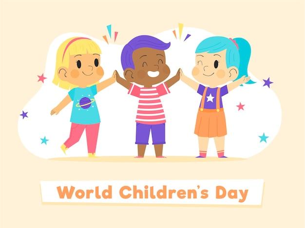 Concepto del día mundial del niño dibujado a mano