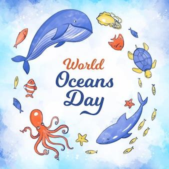 Concepto del día mundial de los océanos en acuarela