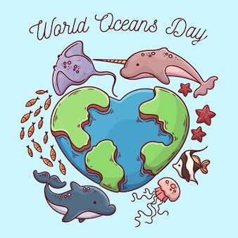 Concepto de día mundial de los océanos dibujados a mano
