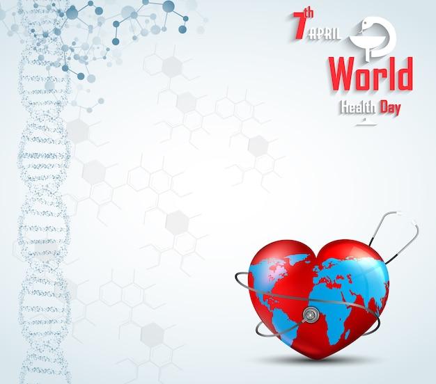 Concepto de día mundial de la salud con adn y globo dentro de un corazón