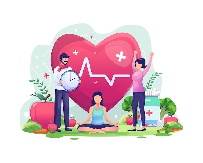 Concepto del día mundial de la salud con personajes que las personas están haciendo ejercicio, yoga, viviendo de manera saludable