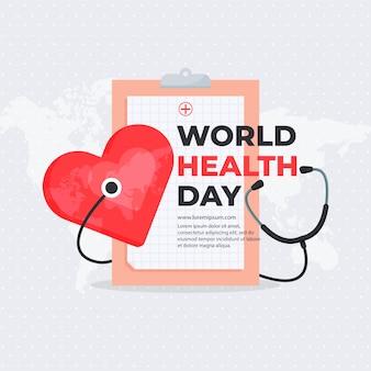Concepto del día mundial de la salud plana