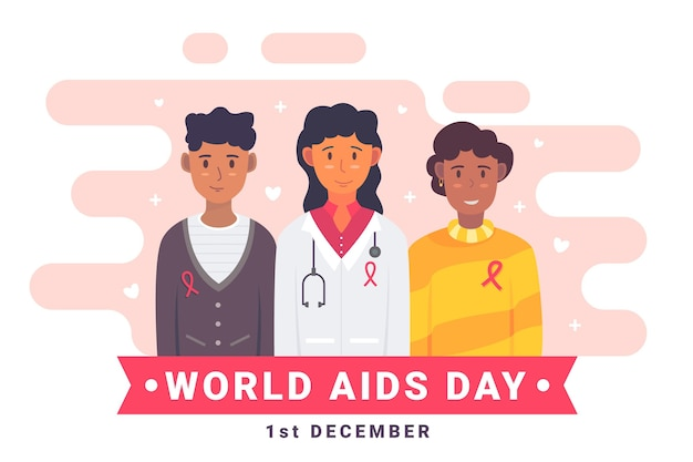 Concepto del día mundial del sida ilustrado con fecha