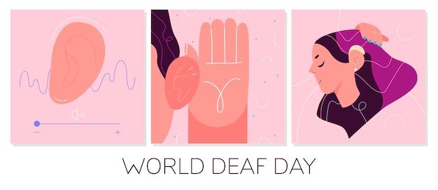 Concepto del día mundial de los sordos. ilustración de cuidado de la salud.