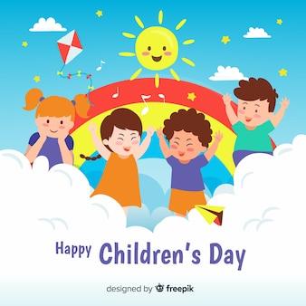 Concepto del día del niño dibujado a mano