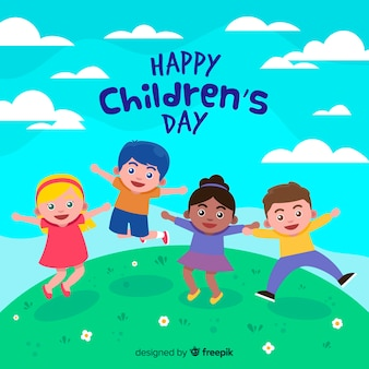 Concepto del día del niño en diseño plano