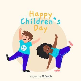 Concepto del día del niño en mano dibujado