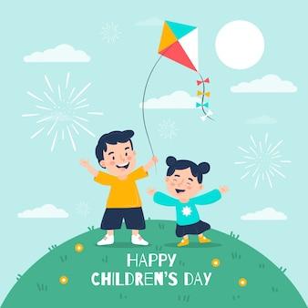 Concepto de día para niños en diseño plano