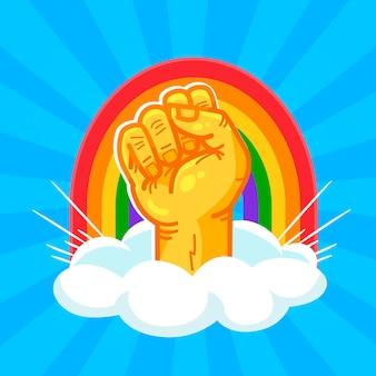 Concepto del día del orgullo con arco iris