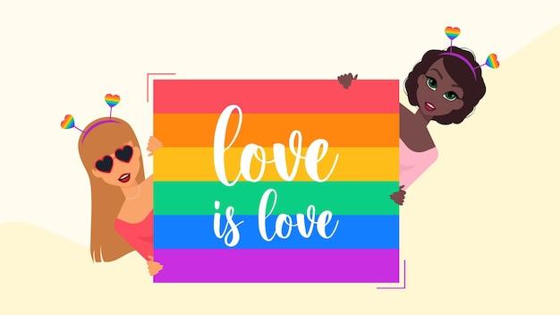 Concepto de día del orgullo de banner de personaje lgbt