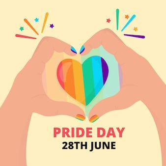 Concepto del día del orgullo corazón del arco iris