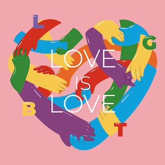 Concepto del día del orgullo con corazón de manos