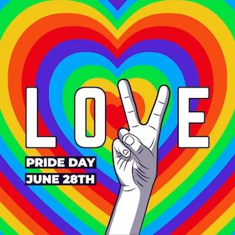 Concepto del día del orgullo con corazones y signo de la paz