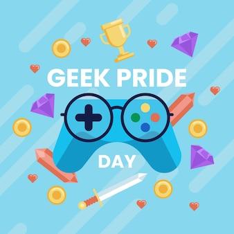 Concepto del día del orgullo geek con controlador de juegos