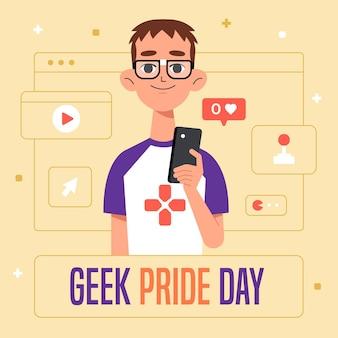Concepto del día del orgullo geek