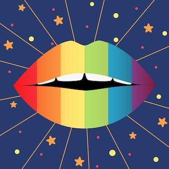 Concepto del día del orgullo con labios coloridos