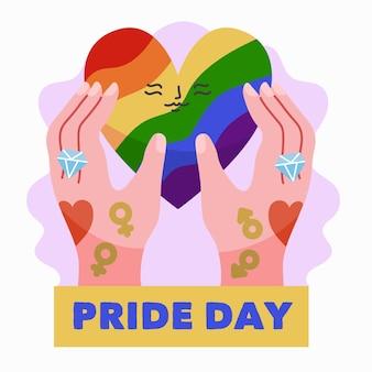 Concepto del día del orgullo con manos y corazón