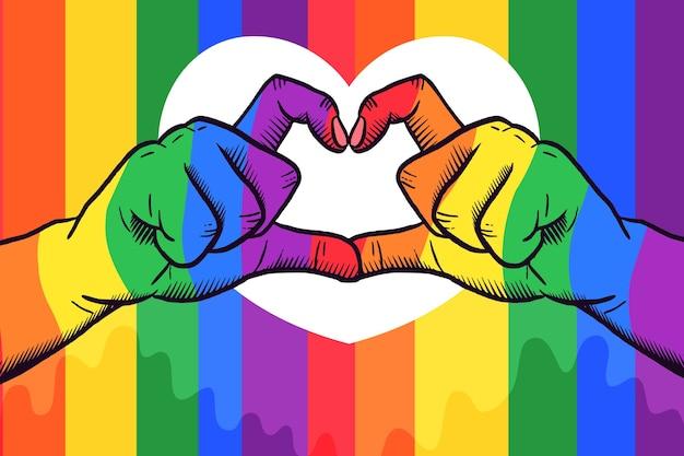 Concepto del día del orgullo con las manos haciendo corazón