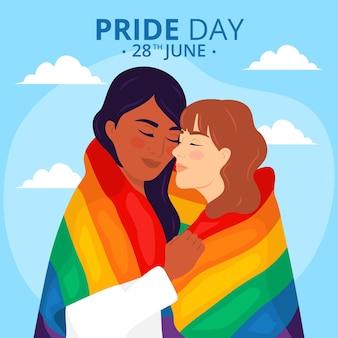 Concepto del día del orgullo con pareja de lesbianas
