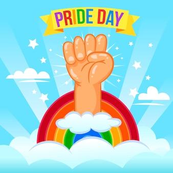 Concepto del día del orgullo con puño