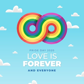 Concepto del día del orgullo con signo infinito del arco iris