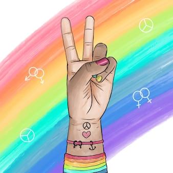 Concepto de día del orgullo signo de la paz