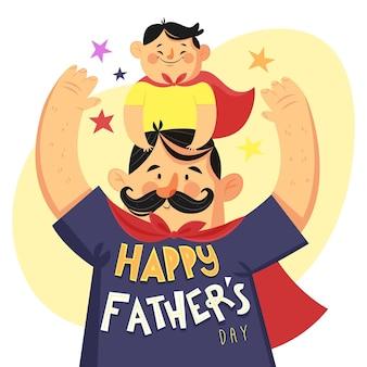 Concepto de día del padre dibujado a mano