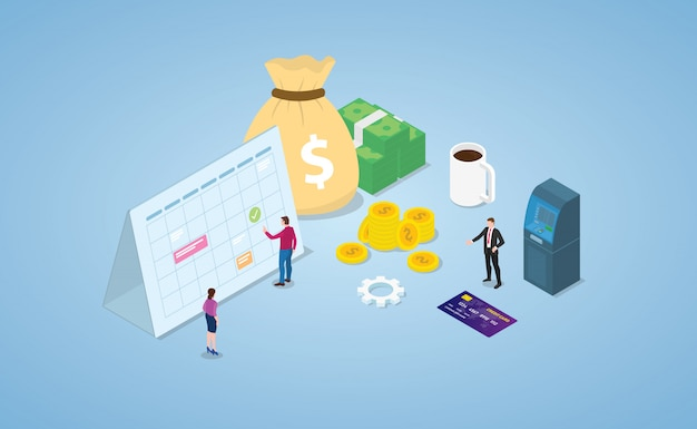Concepto de día de pago con calendario y dinero en efectivo con estilo isométrico moderno