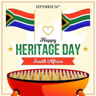 Concepto de día de patrimonio de sudáfrica de diseño plano