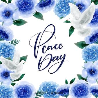 Concepto del día de la paz con letras