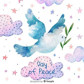 Concepto del día de la paz con paloma acuarela