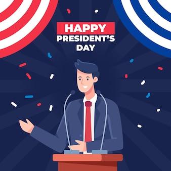Concepto del día del presidente en diseño plano.