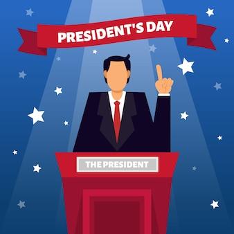 Concepto de día de presidentes de diseño plano