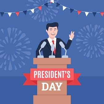 Concepto del día de los presidentes en diseño plano