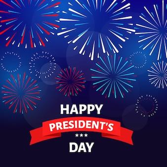 Concepto del día de los presidentes con fuegos artificiales