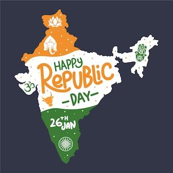 Concepto de día de la república india dibujado a mano