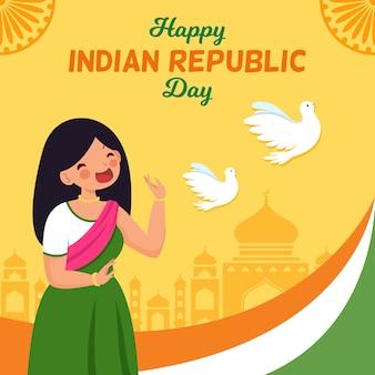 Concepto de día de la república de la india dibujado