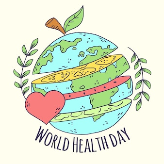 Concepto de día de salud mundial dibujado a mano