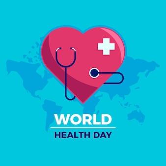 Concepto de día de salud mundial de diseño plano