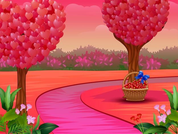 Concepto de día de san valentín con árbol de corazón en la naturaleza