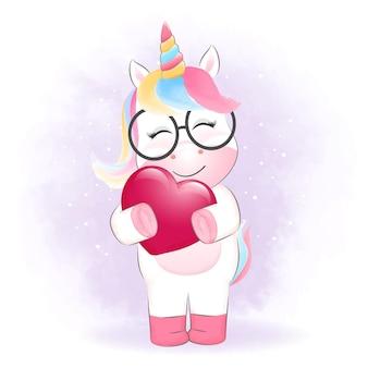 Concepto de día de san valentín pequeño unicornio y corazón